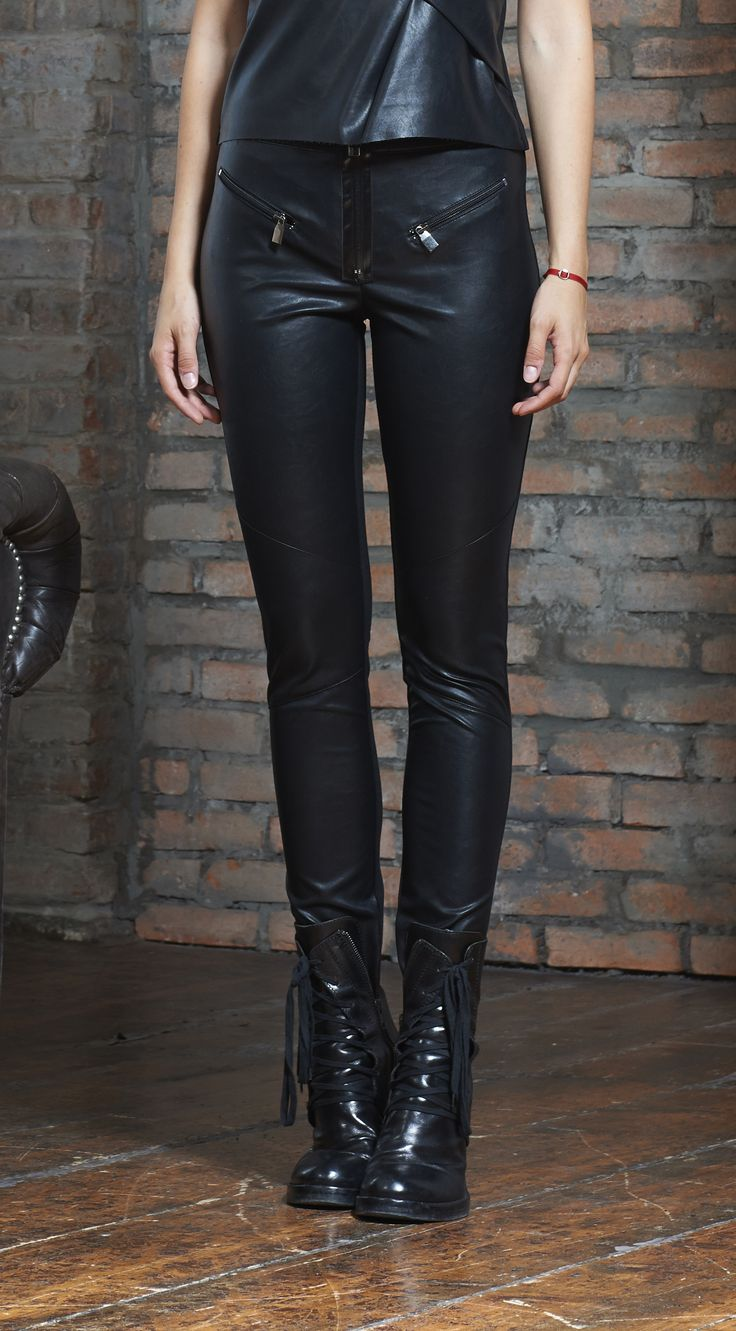 Eco leather stretchy trousers