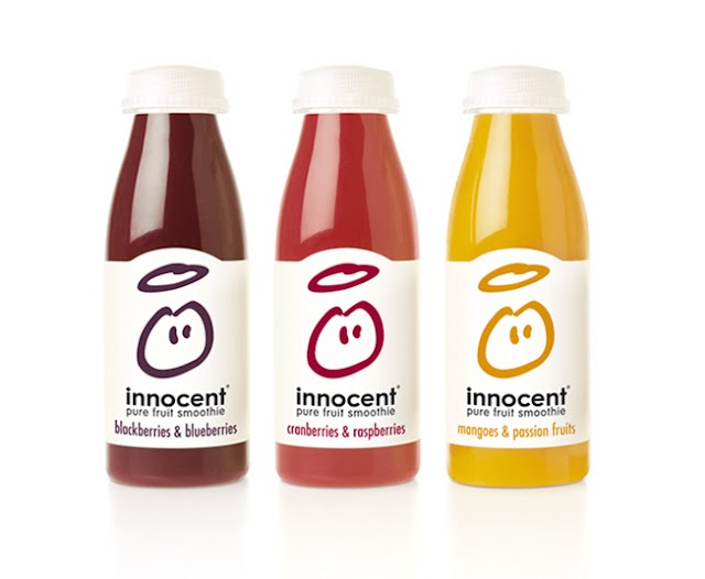 Innocent Fruit Smoothie - love this brand!   Fruit with question mark on top of head?