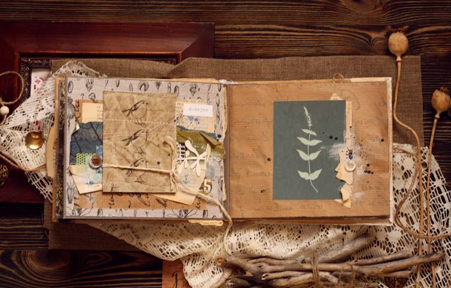 """...по эту сторону ветра : Альбом """"Гулять по росе"""" в настроении """"Эко"""", коробка и открытка к альбому"""