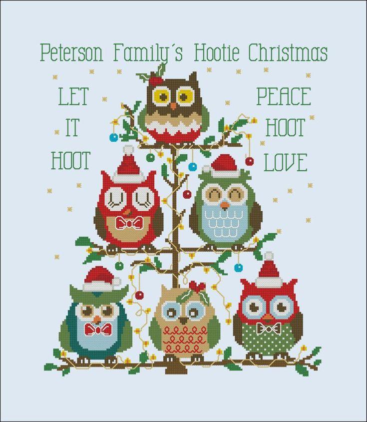 Hooties Christmas Tree (Customizable) Cross Stitch PDF Chart. $7.50, via Etsy.