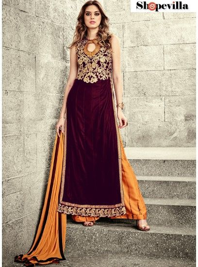 Beautiful Maroon Colour Georgette Palazzo Suit-3801
