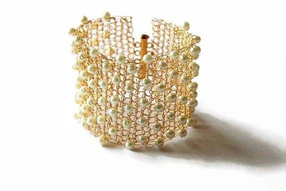 Bridal cuff bracelet gold with pearls, wedding cuff, wire #crochet #jewelry, wide cuff, statement bracelet, lace, beaded:  Elegant wide wire crochet bridal cuff bracelet with... #handmade #boho #etsy #epiconetsy #shopping #shopsmall #jewelryonetsy #etsyseller