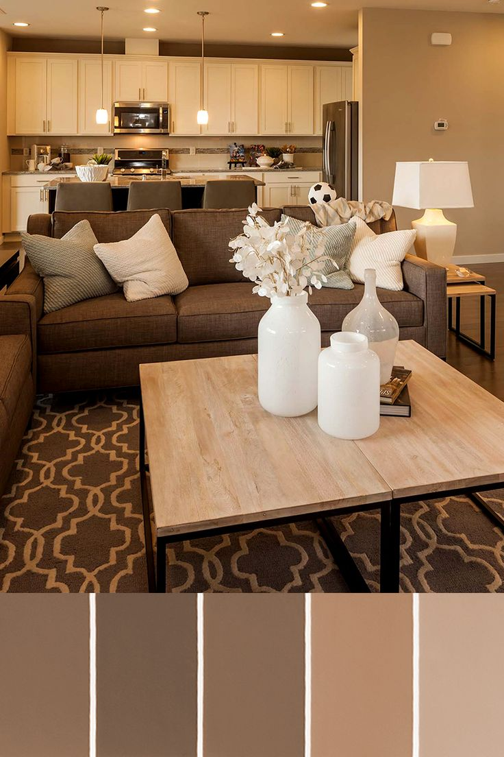 LIVINGROOM Brown Patterned Couch W White And Muted Decor A Neutral Design Palette Is Timeless
