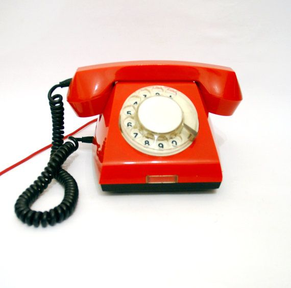 Red Rotary Phone Vintage Telephone Soviet Rotary Phone by aveing