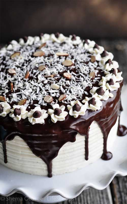 Almond Joy Cake - If you like Almond Joy candy bars (like I do) then you will love this cake. Coconut haters look away. Look away now. This is not the cake for you.