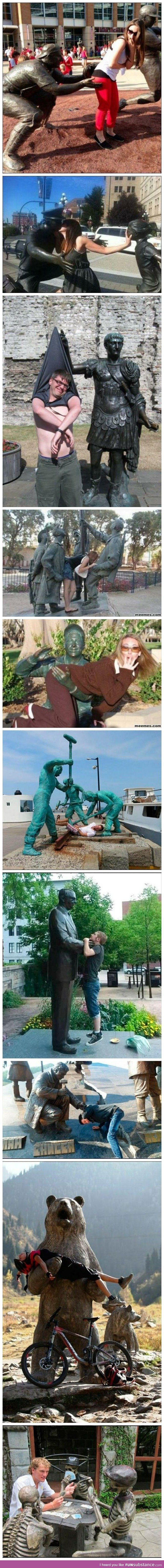 Having fun with statues...