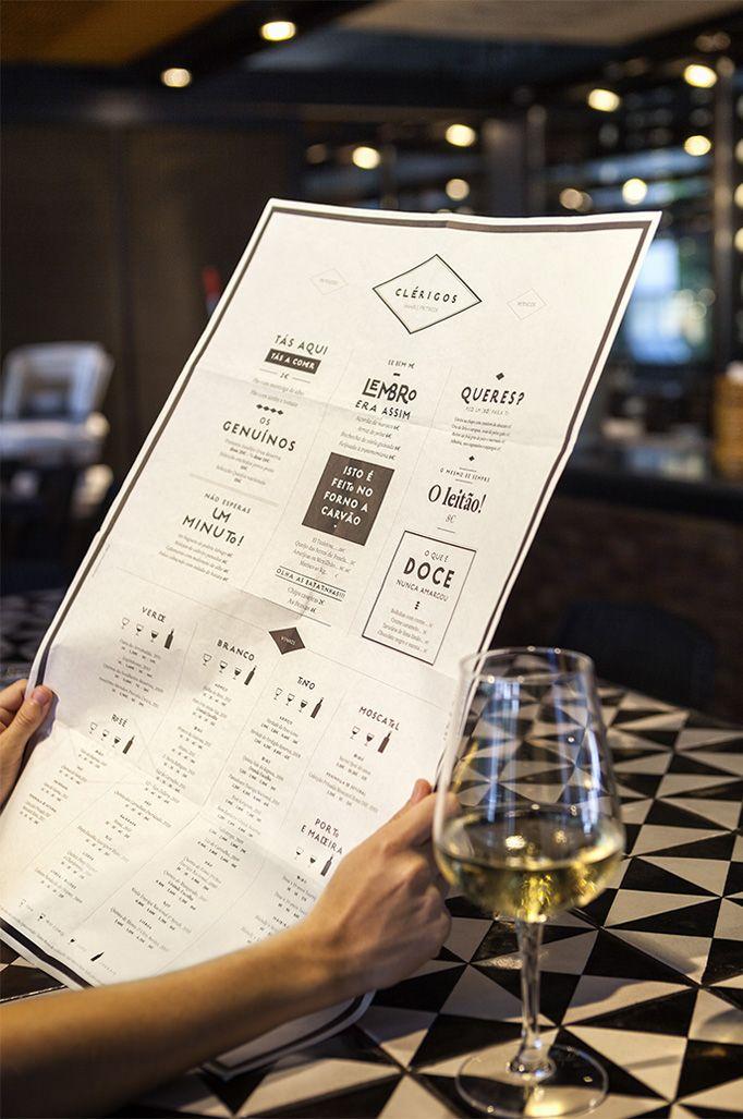 Clérigos | visual communication. graphic design. menu design. restaurant menu. layout. grid. hierarchy. typography.