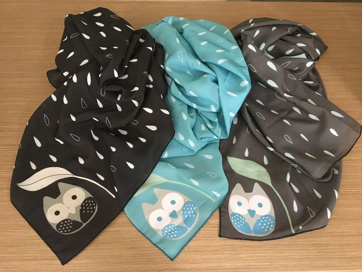 Scarf by Simply be, size 100x100 cm., Silk Satin fabric, Owl in rainy day collection