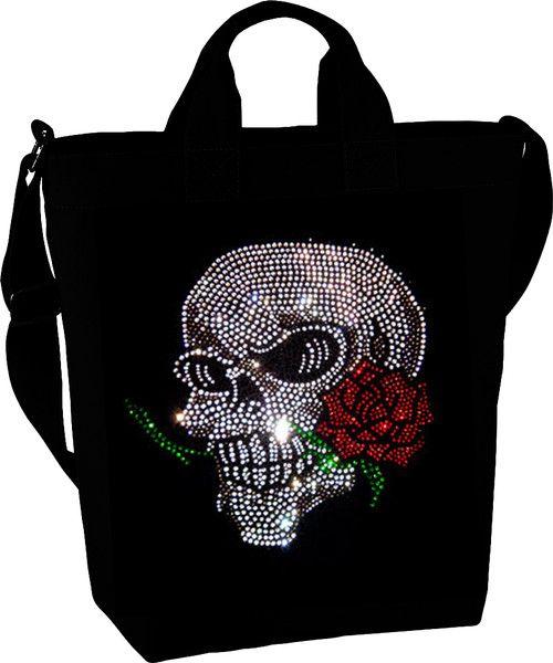 Handtasche Totenkopf Strass mit Rose Skull Tasche von BlingelingShirts_de auf DaWanda.com