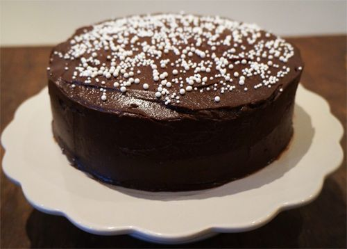 chocolate cake with peanut frosting