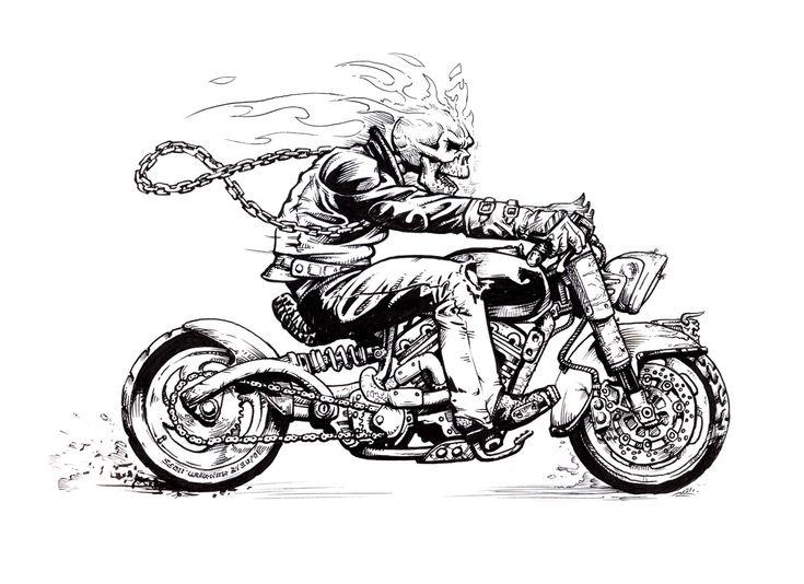 Download wallpaper motorcycle, chain, fire, SKELETON free desktop ...