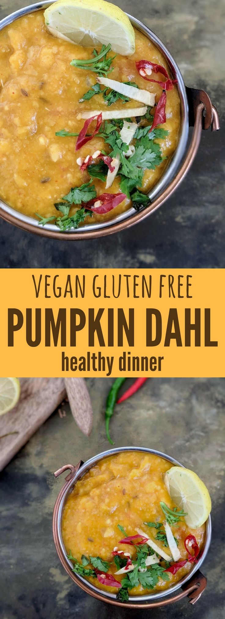 A vegan and gluten free pumpkin dahl recipe with lots of ginger  - makes a quick dinner with some brown rice or quinoa. #pumpkinrecipes    Get the recipe on www.saffrontrail.com  . . . - pumpkin recipes - best pumpkin recipes - pumpkin recipes dinner - pumpkin lentils - pumpkin lentils curry - easy Indian recipes - gluten free vegan recipes