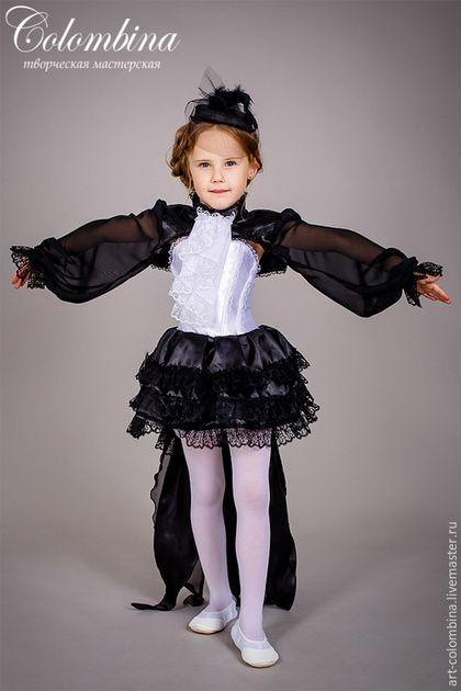 Детские карнавальные костюмы ручной работы. Ярмарка Мастеров - ручная работа. Купить Костюм сороки. Handmade. Черный, атлас