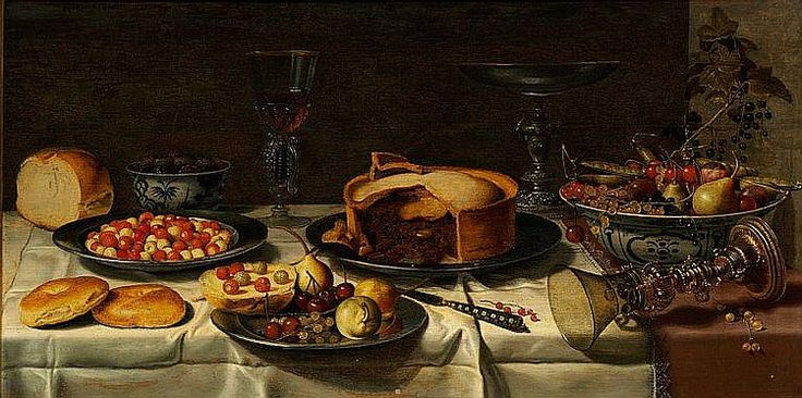 Breakfast piece. Against a greenish-brown background is a table covered by brown-violet drapery, in its turn almost covered by a crumpled white napkin. Symmetrically arranged are Venetian glasses containing the remains of some red wine, and a silver cup. Between a silver plate with yellow and red strawberries and a white porcelain bowl decorated in blue, containing yellow pears, red currants and other fruit is a brown pie on a silver plate while an overturned golden center-piece with a green…
