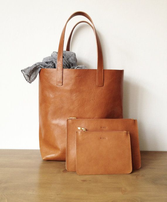 Molly Simple Shopper Brown Leather Tote Market bag by MISOUI