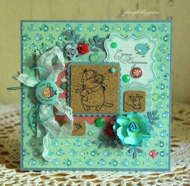Коллаж на холсте и куча открыток. Жанна Розанова http://scrapberrys.blogspot.ru/2015/06/basic.html