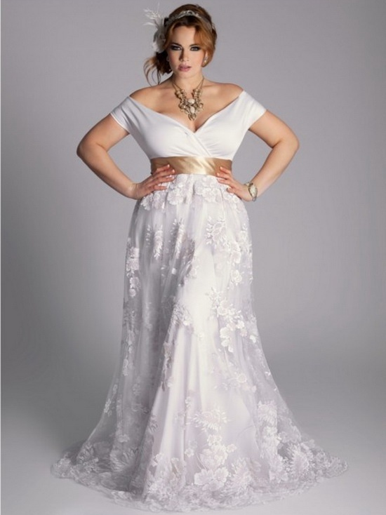 Sexy off the shoulder lace wedding dress plus size