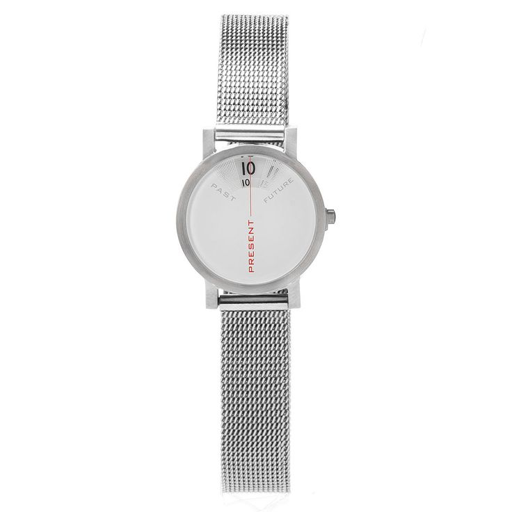 This creative stainless steel watch shows only the present time, reminding you to live in the moment. Designed by Daniel Will-Harris.