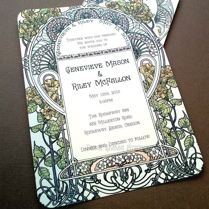 Gatsby Garden Wedding Invitations - Art Nouveau Art Deco - Invitation and Reply cards - Sample. $2.99, via Etsy.