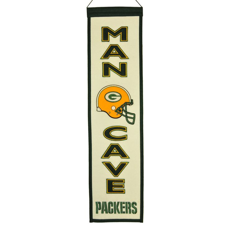 """This beautifully embroidered 8"""" x 32"""" wool banner commemorates the Green Bay Packers with a Man Cave motif. A """"Must Have"""" for all Green Bay Packers super-fans."""