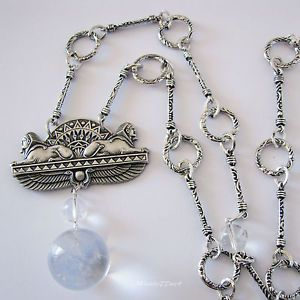 Art Deco Egyptian Sphinx Pools of Light Genuine Quartz Necklace - Gift Boxed by Missie77art Jewellery on ebay