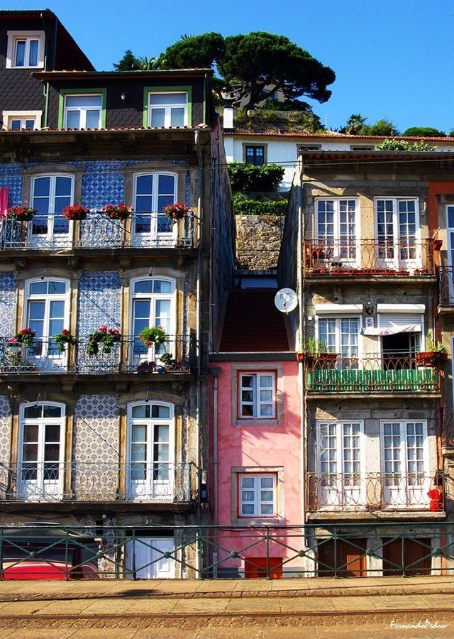 Wee little pink house in Porto, Portugal.