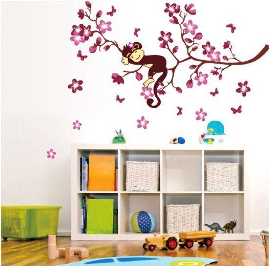 Vrolijke Premium Prachtige Muursticker Slapende Aap Boomtak - Voor Kinderkamer / Babykamer / woonkamer V2