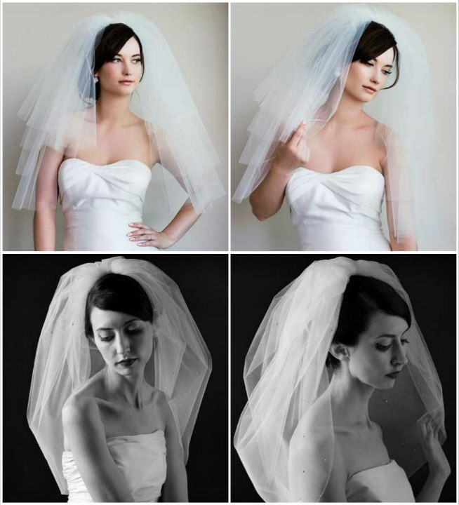 Sara Gabriel Bliss & Joy veils. These 2 veils add tons of volume  to your look. Fabulous with a narrow cut dress.  These veils will make you look thinner! Bliss is a  4 tier veil, Joy is a bubble veil. Find the Sara Gabriel veil collection at Perfect Details.