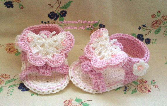Crochet Sandals with Butterfly for Baby - pattern pdf 13