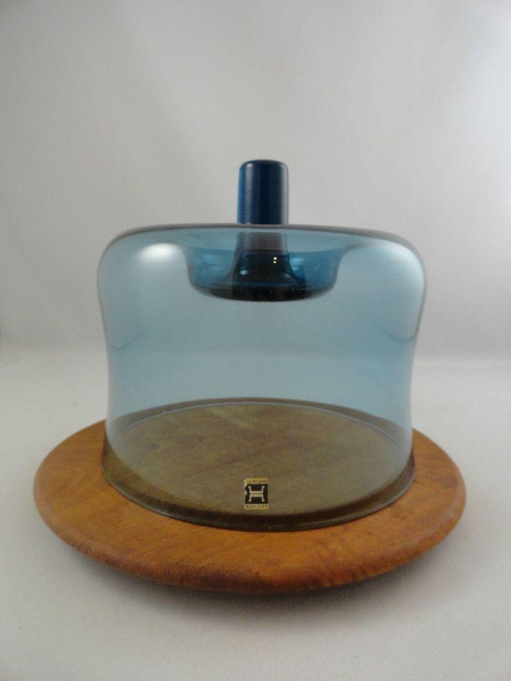 Hadeland Glass Cheese Dome Teak Serving Tray Norway Art Glass | eBay