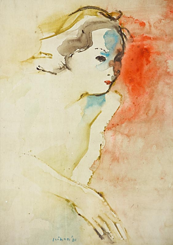 Jeihan Sukmantoro (1938) Wanita, Medium : Water color on paper