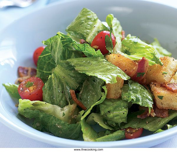 Romaine, Bacon & Tomato Salad with Croutons & Tarragon Vinaigrette recipe. Romaine lends a crisp texture to this salad, but it's equally tasty with small leaves of butter lettuce.