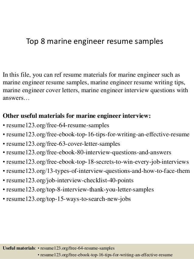 For 4th Engineer Resume Writing Tips Cover Letter For Resume