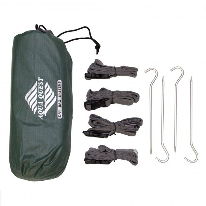 Everything you would need to setup a waterproof, lightweight, shelter quickly in almost any situation, with seemingly endless setup configuration options. The kit includes our top rated 'Guide' Medium Sil Tarp, 4 Adjustable Webbed Straps, 4 Lightweight Pegs, and a convenient stuff sack to keep it all in. Get the complete kit and save money compared to buying separately.