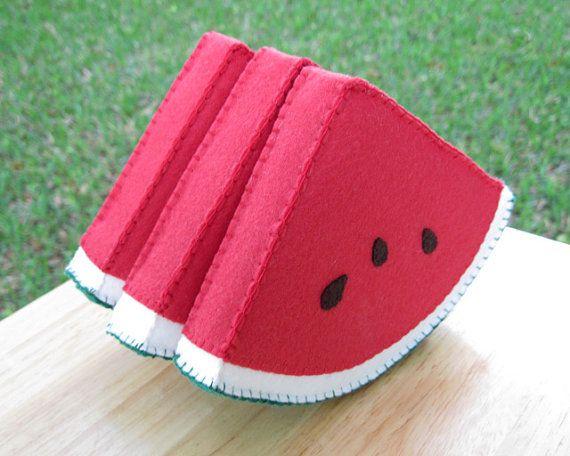 Watermelon Slice Felt Food Play Food by FiddledeeDeeCraft on Etsy, $20.00