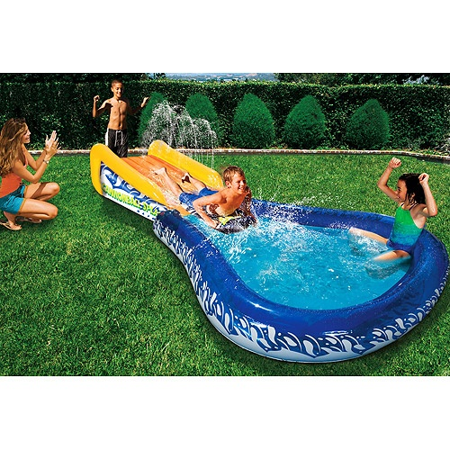 This is way cooler than our blow-up pool slide - The boys would have a blast in this!