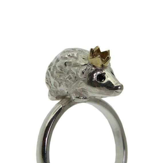 Hedgehog Ring: Dreams Closet, Clothing Shoes Accessories, Stuff, Crowns Rings, Diamonds Eye, Black Diamonds, Silver Rings, Jewelry Rings, Hedgehogs Rings