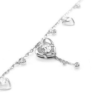 Perfect Gift - High Quality Elegant Heart Anklet with Silver Swarovski Crystals - 23cm (1842) for Birthday Anniversary Free Standard Shipment Clearance Glamorousky. $18.98. Save 85% Off!
