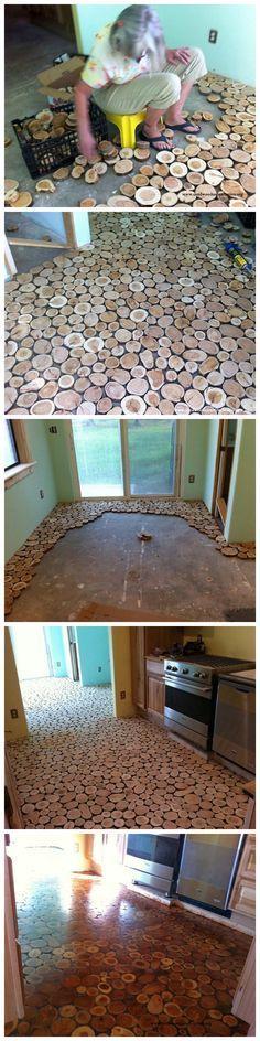 Cordwood Flooring by Sunny Pettis  DIY