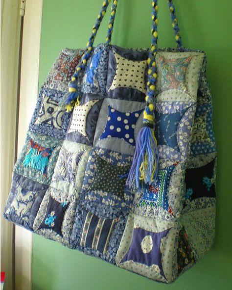 Lovely folded Japanese patchwork bag - ver summery