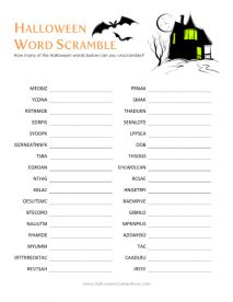 The popular word jumble game with a Halloween twist. Have your guests unscramble the letters to form Halloween themed words. Not as easy as it looks. Direc