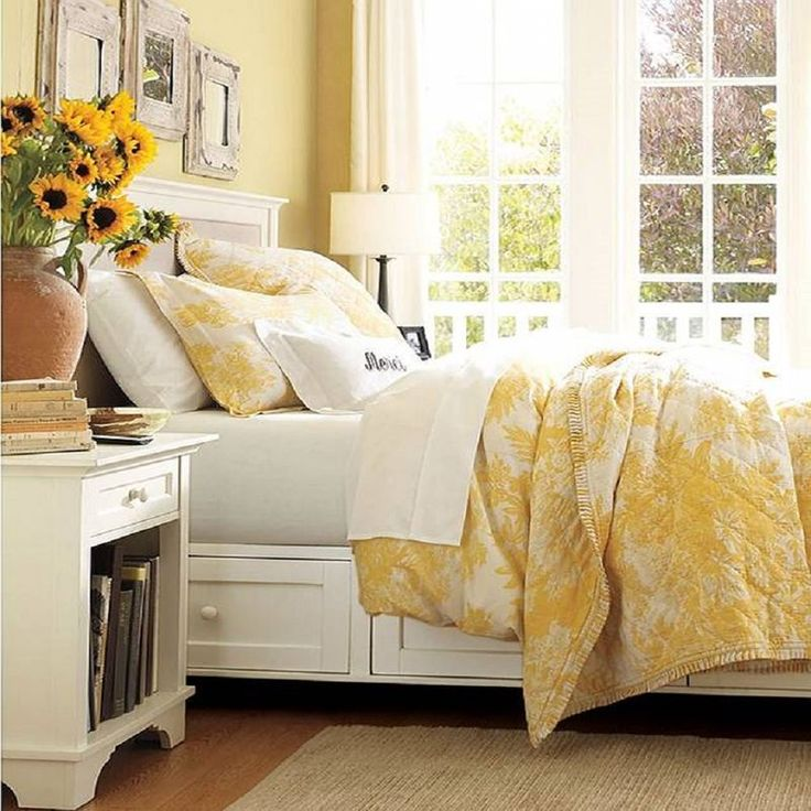 Yellow French country bedroom.
