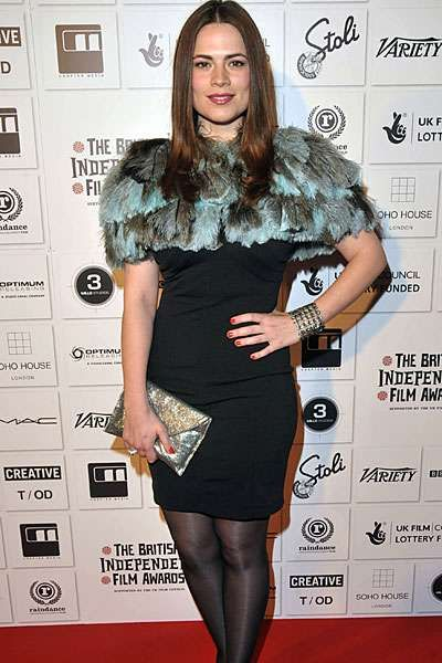 Hayley Atwell in Exclusive Feather Dress