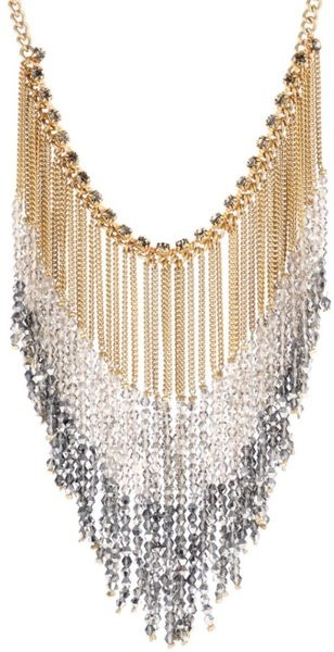 Kenneth Cole  Beaded Chain Fringe Statement Necklace