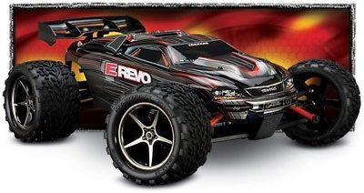 ﹩270.00. Traxxas 1/16 E-Revo VXL TSM 4WD RTR Brushless Truck w/ID Battery & Charger BLACK    Type - Truck, Scale - 1:16, Fuel Type - Electric, Required Assembly - Ready to Go/RTR/RTF (All included), Color - Black, 4WD/2WD - 4WD, Motor Type - Brushless, Vintage (Y/N) - No, Product Line - E-Revo, Characteristics - Tuning, Recommended Surface - Off-Road  On-Road