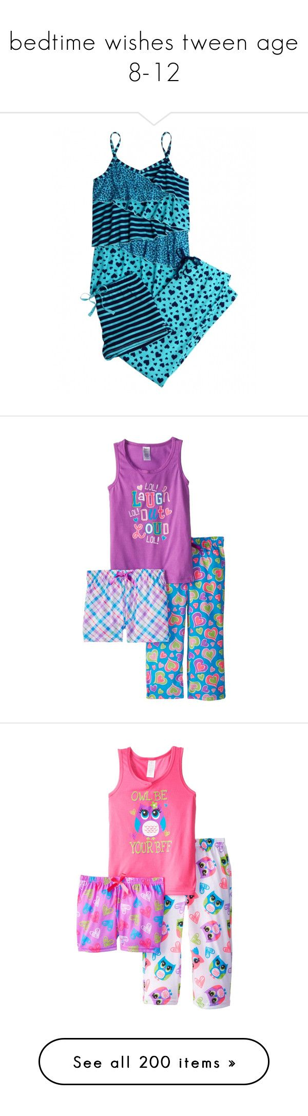 """""""bedtime wishes tween age 8-12"""" by sterlingkitten ❤ liked on Polyvore featuring justice, tween girl, kids clothes, babies, girls, kids, intimates, sleepwear, pajamas and disney pjs"""
