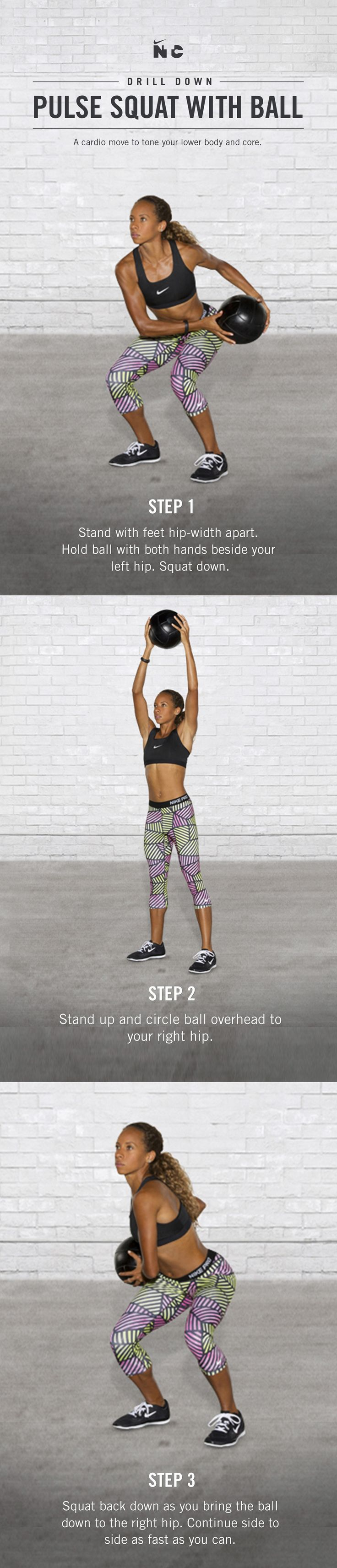 Tone your lower body and core with the Pulse Squat with Ball in the Nike…