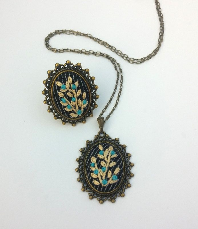 Unique jewelry for women Fabric pendant necklace Stitched pendant Flower Cocktail ring Gift ideas for mom