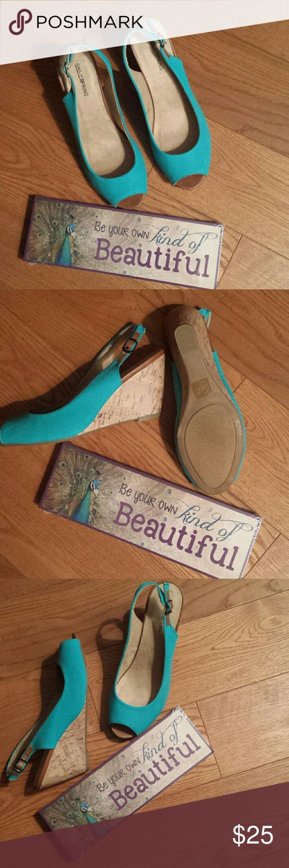 Brand New Gorgeous Turquoise Wedges sz 8 Never worn from JCPENNEY. Love the shoes just  can't wear the angle anymore. Comes in original  box. Call It Spring Shoes Wedges