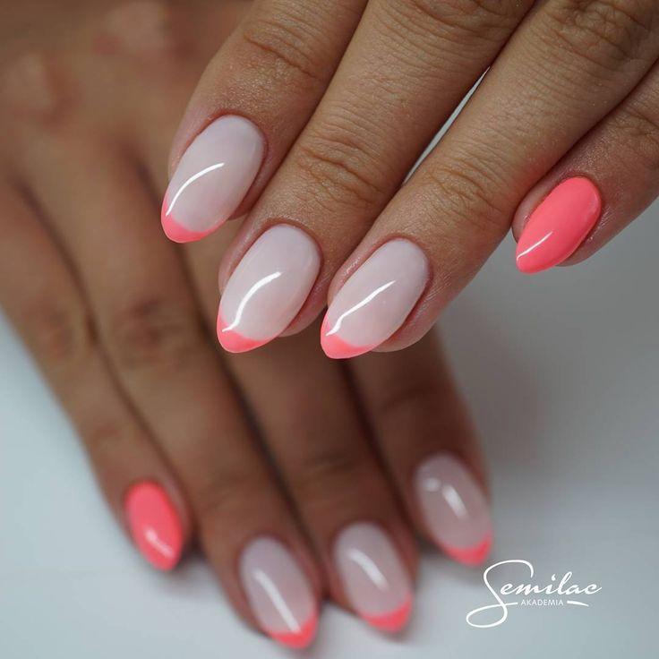Na dzień dobry wakacyjny pink doll 033, jak Wam się podoba wakacyjna wersja frencha? 051 #semilac #akademiasemilac #summernails #nails #nailart #nailart #pink #pinknails #french #instanails #happynails